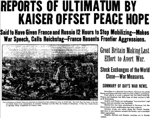Front page of the Boston Globe, August 1, 1914.
