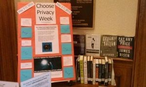 Choose Privacy week display with poster and books