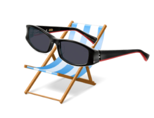 Image of a blue and white striped beach chair wearing a pair of oversized sunglasses