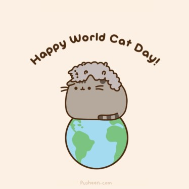 Pusheen the Cat wishes you a Happy World Cat Day!