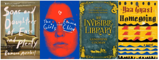 Cover images of Sons and Daughters, The Girls, Invisible Library, Homegoing