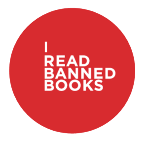 I READ BANNED BOOKS white text inside red circle