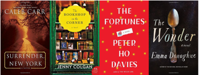 Cover images of Surrender New York, Bookshop on the Corner, The Fortunes, The Wonder
