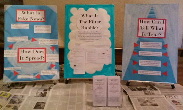 photo of fake news display: What is fake news? What is the filter bubble? How can I tell what is true?