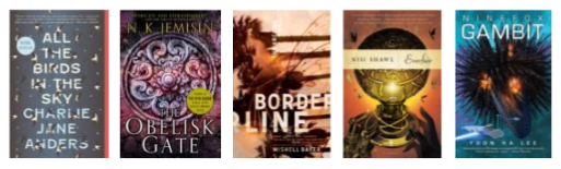 Cover images of the five Nebula nominees