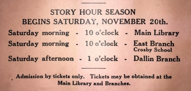 Detail of flier for 1943 Library Week activities. (Robbins Library archives)