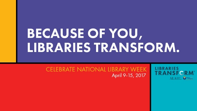 National Library Week Libraries Transform logo