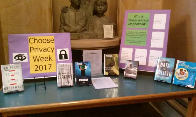 Choose Privacy Week posters and books on display