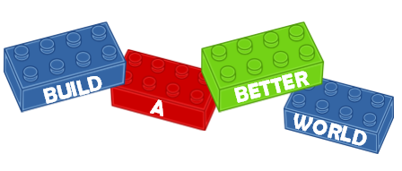 Build A Better World logo on Lego bricks