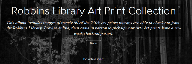 Flickr album header: Robbins Library Art Print Collection
