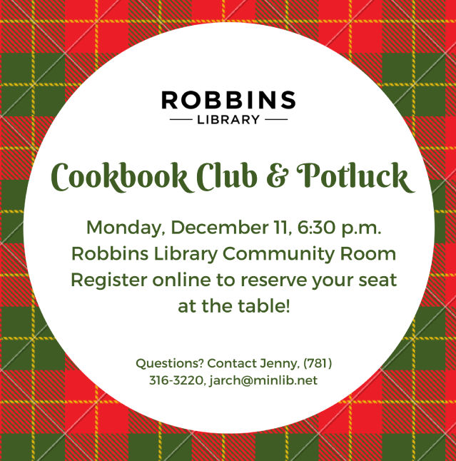 Flyer for December cookbook club