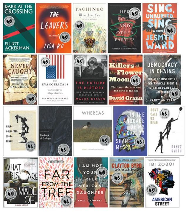 Cover images of all National Book Award finalists, with award stickers