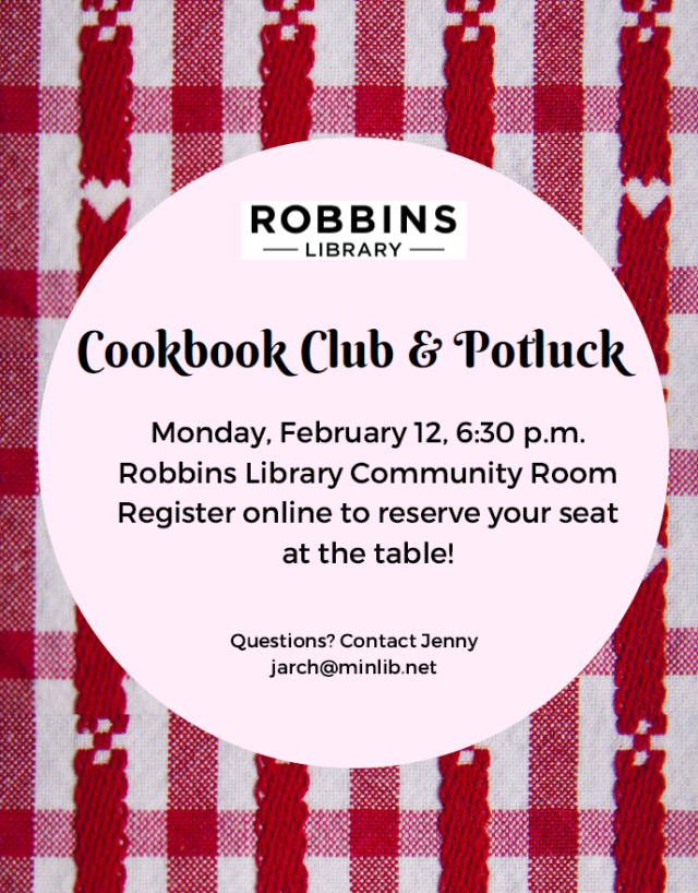 Cookbook Club flyer for February 12, 2018