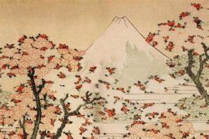 HokusaiKatsushika-MountFujiBehindCherryTreesAndFlowers